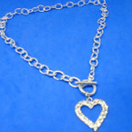 "18"" Silver Chain Necklace w/ DBL Line  Cry. Stone Heart  .56 each"