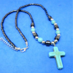"18"" Hematite Necklace w/ Turquoise Stone Cross  12 per pk .60 each"