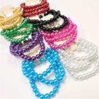 Great Value 3 Pk Glass Bead Stretch Bracelet & Earrings Set Brights .54 ea set