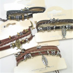 3 Strand Leather Bracelets w/ Beads & Jesus Charm .54 each