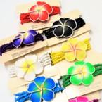 "5 Strand Bead Stretch Bracelet w/ 2"" Hawaiian Flower .57ea"