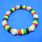 Rasta Disc Stretch Bracelets w/ Crystal Stone Fireball Beads .54 each