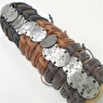 Teen Leather Bracelet w/ Silver  Zodiac Signs Round   .54 ea