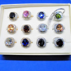Beautiful Oval Cubic Ring w/ Mini Crystals .56 each