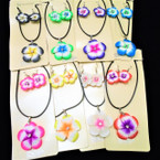 Hawaiian Flower Necklace & Earring Sets w/ Stone .58 per set