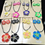 DBL Black Cord Hawaiian Flower Necklace & Earring Sets w/ Stone .58 per set