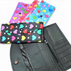 "4"" X 7"" Heart Pattern Fashion Ladies Wallets 12 per pk  .45 ea"