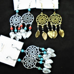 """3"""" Silver & Gold Dream Catcher Look Earrings w/ Dangle Leaves & Beads .54 per pair"""