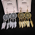 "2.5"" Silver & Gold Dream Catcher Look Earrings w/ Stone  .54 per pair"