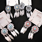 "2.5"" Silver  Dream Catcher Look Earrings w/ Colored Mini Beads  .54 per pair"