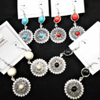 "2.5"" Silver  Disc Fashhion Earrings w/ Colored Mini Beads & Stones  .54 per pair"