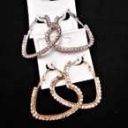 "1.5"" Silver  & Gold Rhinestone Heart Earrings  .54 per pair"