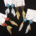 "2.5"" Silver  & Gold Southwest Look  Earrings w/ Colored  Stone  .54 per pair"