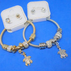 Gold & Silver Spring Style Bracelet Set w/ Cry. Turtle Charm .54 ea