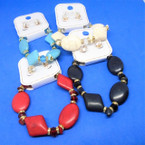 Semi Precious Stone & Crystal Bead Bracelet Sets   .56 each