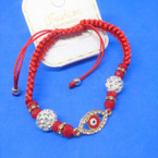Red Macrame Bracelet w/ Fire Ball Beads & Eye Bead  .54 each