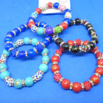 Mini Crystals,Fire Ball & Glass Bead Stretch Bracelets    .56 each