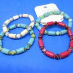 Semi Precious Stone & Deco  Bead Stretch Bracelets    .54 each