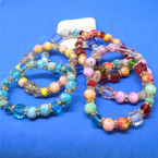 Marble Bead,Square Glass & Crystal  Bead Stretch Bracelets    .56 each
