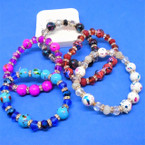 Splash Paint Bead ,Round  Glass & Crystal  Bead Stretch Bracelets    .56 each