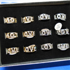 Gold & Silver Crystal Stone LOVE Band Rings 12 per display  .56 each