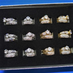 Gold/Silver Wedding Band Ring Sets Cubic Stone 12 sets per display .56 ea set