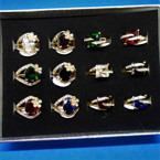 2 Style Gold Cubic Stone Cocktail Rings w/ Mini Stones 12 per display bx .56 each