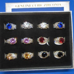 Gold& Silver  Cubic Stone Cocktail Rings w/ Mini Stones 12 per display bx .56 each