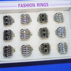 Cast Silver 5 Line Fashion Rings w/ Mini Stones 12 per display bx .56 each