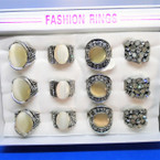 4 Style Cast Silver  Fashion Rings w/ Mini Crystals 12 per display bx .56 each
