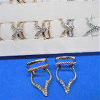 "1.5"" Gold & Silver Fashion Rings w/ Clear Crystals 12 per display .56 each"