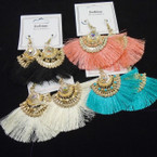 "Trendy 3"" Fringe Fashion Earrings w/ Gold Frame Top .54 per pair"