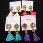 "Trendy 2.5"" Fringe Fashion Earrings w/ Gold Frame Top & Stone  .54 per pair"