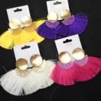 "Trendy 3"" Fringe Fashion Earrings w/ Gold & Paint Splash Top  .54 per pair"
