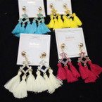 "Trendy 3"" Triple Fringe Fashion Earrings w/ Gold Frame Top & Stones  .54 per pair"