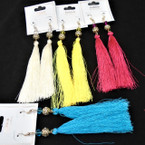 "5"" Asst Color Tassel Fashion Earring w/ Gold & Stone Bead Top  .54 ea pair"