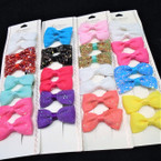 8 Pack Gator Clip Bows Solids & Sparkle  .54 per set of 8