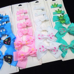 6 Pack Princess Theme Gator Bow Clip Set Asst Colors  .54 per set