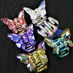 "3"" Shiney Gem Stone Look Butterfly Theme Jaw Clips .54 each"
