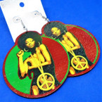 "3"" Wood Earrings Foxy Rasta Color Peace Girl Theme  .54 per pair"