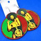 "3"" Wood Earrings Foxy Rasta Color Peace Girl Theme  .54 per pair"