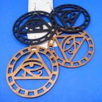 "3"" Wood Earrings Triangle w/  Egyptian Eye   .54 per pair"