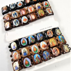 3 Pack Wood Stretch Bracelet w/ Religious Saint Pictures Woodtone .54 per set