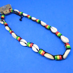 "16""  Wood Rasta Color Beads & Cowrie Shell Necklace .54 each"