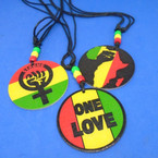DBL Leather Cord Necklace w/ Three Style Wood Rasta Pendants .52 each