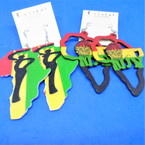 "3"" Rasta Color Wood Earrings   2 Map Styles per dz .54 per pair"