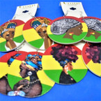 "2"" Rasta Color Wood Earrings  4 Styles per dz as shown  .54 per pair"