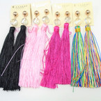 "5"" Asst Color Tassel Fashion Earring w/  Clear Stone Top  .54 ea pair"