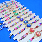 Beaded Cord  Bracelets w/ Round Moon Stone Look Center  12 per card .54 each
