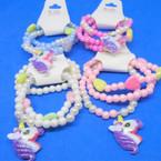 Cute 3 Strand Kids Stretch Unicorn Theme Bracelets (94) .50 per set